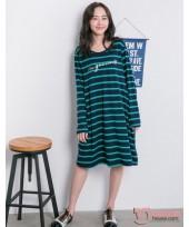 Nursing Dress - Long Stripe Green