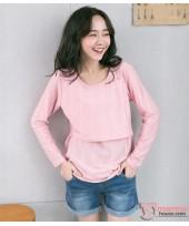 Nursing Tops - Vert Stripe Long Pink