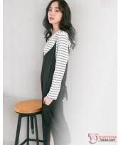 Nursing Dress - 2pcs Long Stripe Black