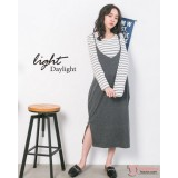 Nursing Dress - 2pcs Long Stripe Grey