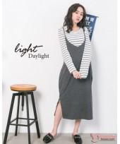Nursing Dress - 2pcs Long Stripe Grey