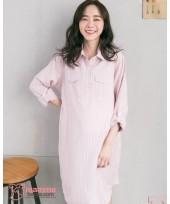 Nursing Dress - Long Collar Stripe Pink