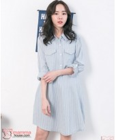 Nursing Dress - Long Collar Stripe Blue