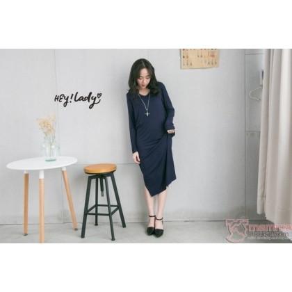 Nursing Dress - Long V Dark Blue