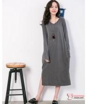 Nursing Dress - Long V Dark Grey