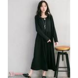 Nursing Dress - Little V Neck Black Long Sleeves
