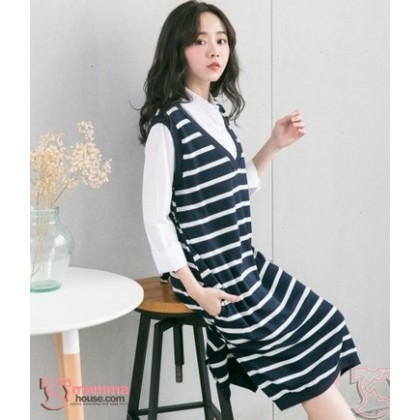 Nursing Dress - Long Forge 2pcs White Collar Dark Blue