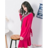 Nursing Dress - Long Chest Stripe Pink