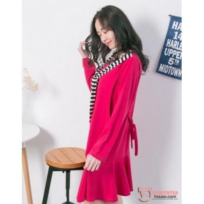 Nursing Dress - Long Chest Stripe Pink