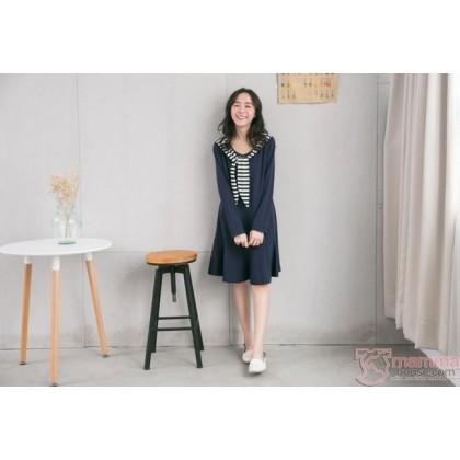 Nursing Dress - Long Chest Stripe Blue