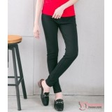 Maternity Long Pants - Slim Fit Cotton Black