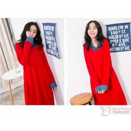 Nursing Dress - Long Knitted Collar Red