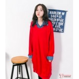 Nursing Dress - Long Knitted Collar Red