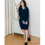 Nursing Dress - Long Knitted Collar Blue