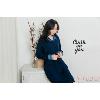 Nursing Dress - Long Knitted Collar Blue