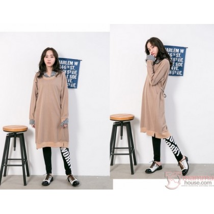 Nursing Dress - Long Knitted Collar Almond