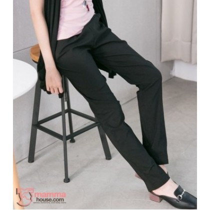 Maternity Long Pants - Working Slim Straight Black