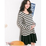 Nursing Dress - Long Stripe Grey Beige