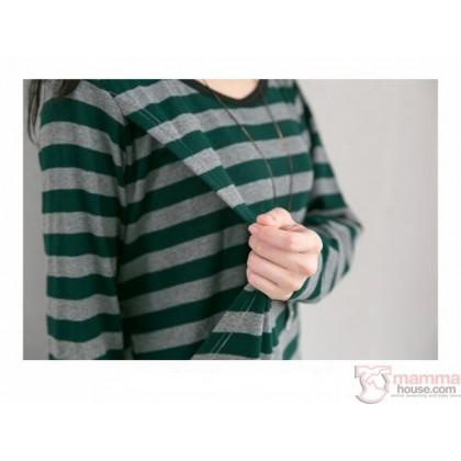 Nursing Dress - Long Stripe Grey Beige