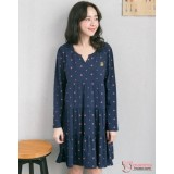 Nursing Dress - Mic Dark Blue Long Sleeves