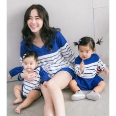 Nursing Set - V Neck Long Blue (plus baby romper)