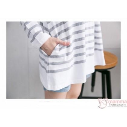 Nursing Set - Long Red Line Grey (plus baby romper)