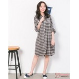 Nursing Dress - Grid Brown Long Sleeves