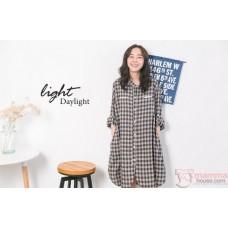 Nursing Dress - Grid Brown Long Sleeves