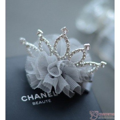 Baby Hair Clip - Grey Lace Crown