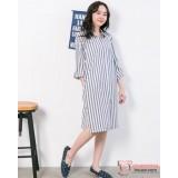 Nursing Dress - Collar Stripe Grey Blue Long Sleeves
