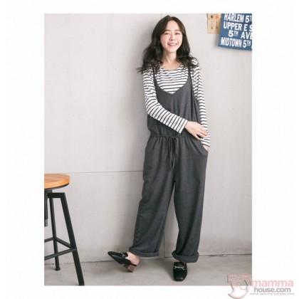 Nursing Set - Long 2pcs Strap Pants Grey