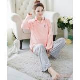 Mamma Pajamas - Long Collar Pink Grey Pants