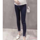 Maternity Jeans - Button Dark Blue