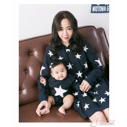 Nursing Set - Star Dark Blue Long Sleeves (plus baby romper or clothes set)