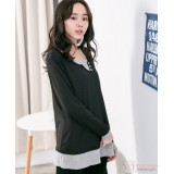 Nursing Tops - Buttons V Long Sleeves Black