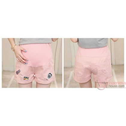 Maternity Shorts - Cool Badge Pink