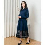 Nursing Dress - Long Chiffon Lace Dark Blue