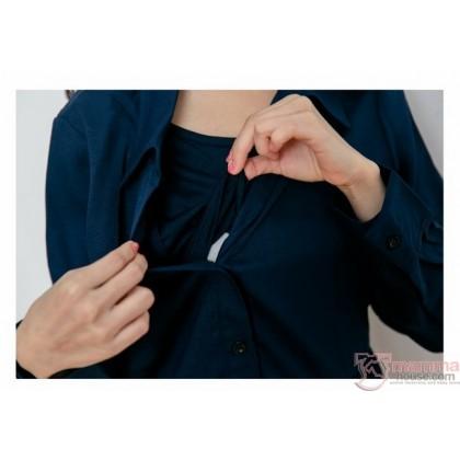 Nursing Dress - Long Chiffon Lace Dark Blue