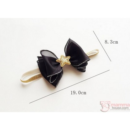 Baby Headband - Chiffon Ribbon Black