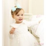 Baby Headband - Chiffon Ribbon Green Blue
