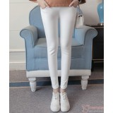 Maternity Pants - Long Slim Fit White
