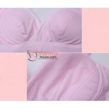 X Nursing Bra - JP Cotton Cross Pink