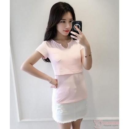 Nursing Tops - Cotton V Collar Pink