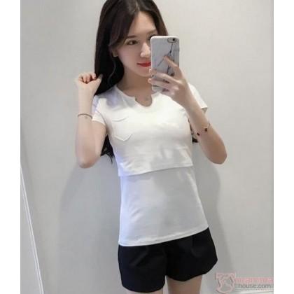 Nursing Tops - Cotton V Collar White