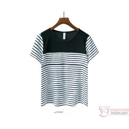 Nursing Tops - Cool Stripe White
