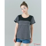 Nursing Tops - Cool Stripe Dark Blue