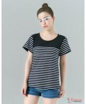 Nursing Tops - Cool Stripe Dark Blue