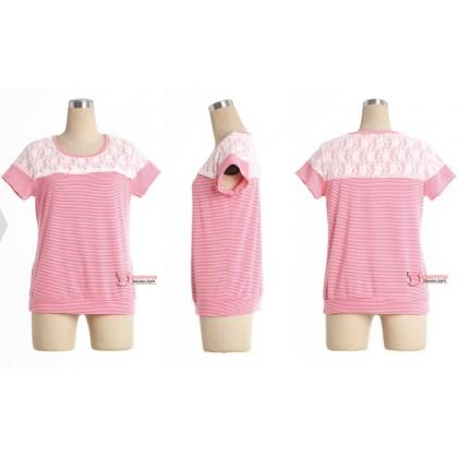 Nursing Tops - Shoulder Lace Stripe Pink