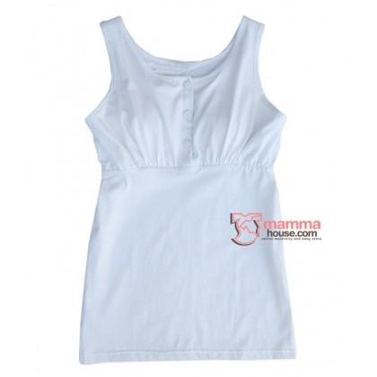 Nursing Singlet - JP Top Button White