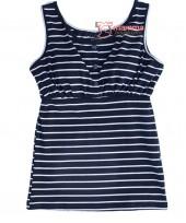 Nursing Singlet - JP Top Button Dark Blue Stripe